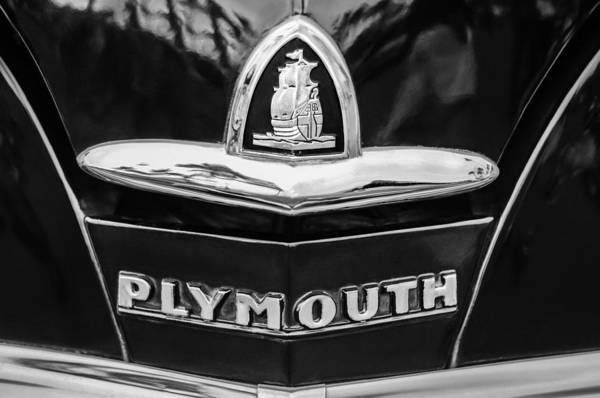 Plymouth Photograph - 1948 Plymouth Emblem -0388bw by Jill Reger
