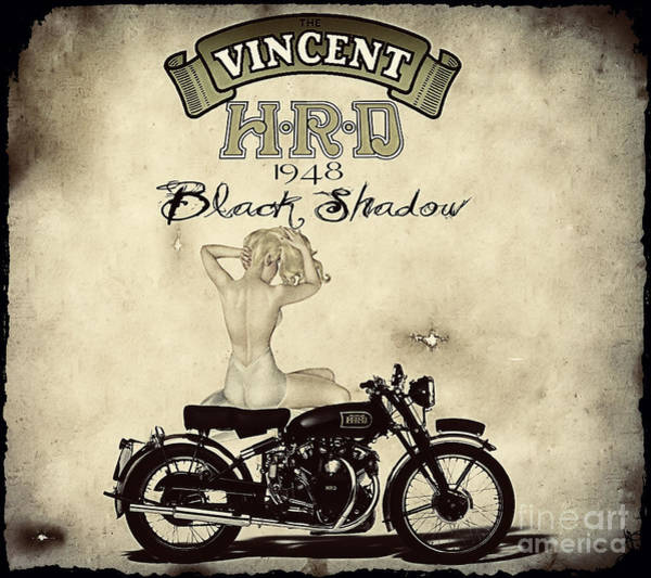 Wall Art - Digital Art - 1948 Vincent Black Shadow by Cinema Photography