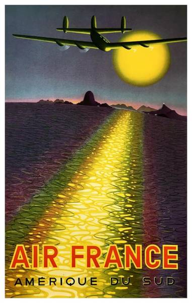 Wall Art - Digital Art - 1949 Air France South America Travel Poster  by Retro Graphics
