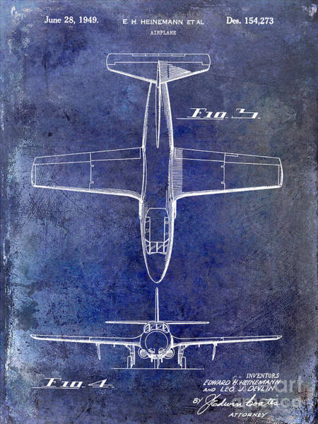 Vintage Airplane Photograph - 1949 Airplane Patent Drawing Blue by Jon Neidert