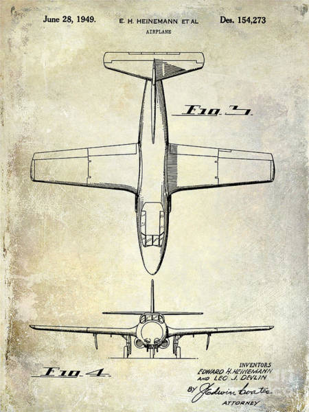Vintage Airplane Photograph - 1949 Airplane Patent Drawing by Jon Neidert