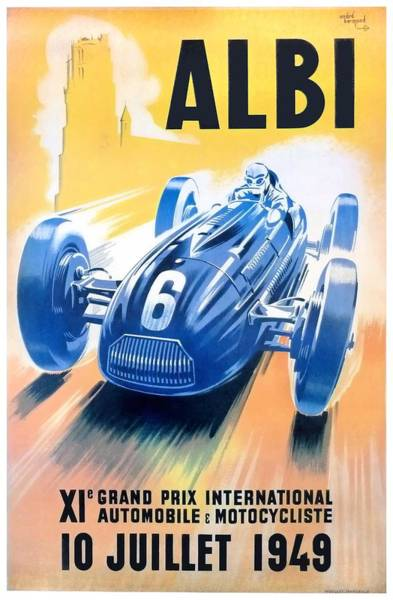 Autosport Wall Art - Digital Art - 1949 Albi Grand Prix Automobile Race Poster by Retro Graphics