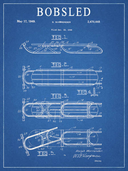 Drawing - 1949 Bobsled Patent by Dan Sproul