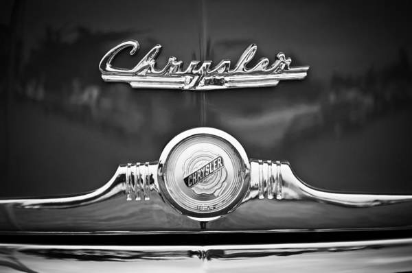 Wall Art - Photograph - 1949 Chrysler Town And Country Convertible Grille Emblems -2183bw by Jill Reger