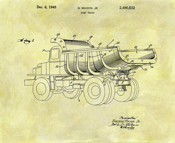 Wall Art - Mixed Media - 1949 Dump Truck Patent Design by Dan Sproul