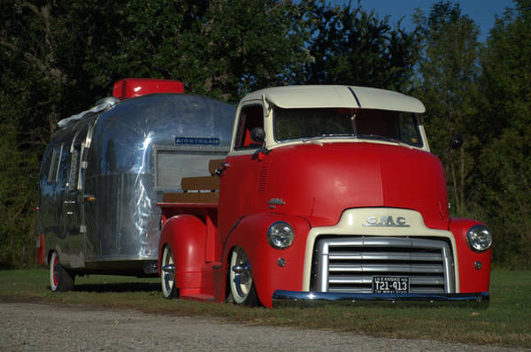 Photograph - 1949 Gmc Coe Pickup Pulling Airstream Trailer by Tim McCullough