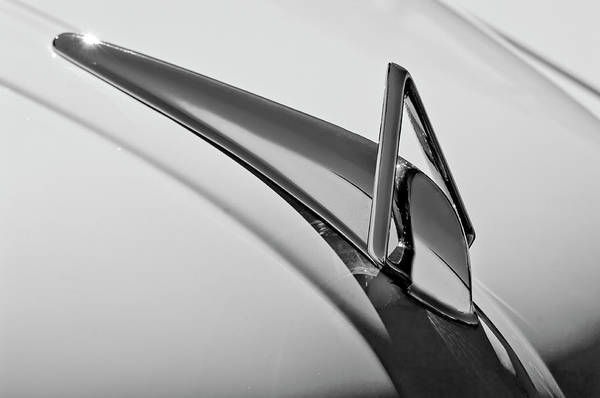 Photograph - 1949 Hudson Super Six  Hood Ornament -0436bw by Jill Reger