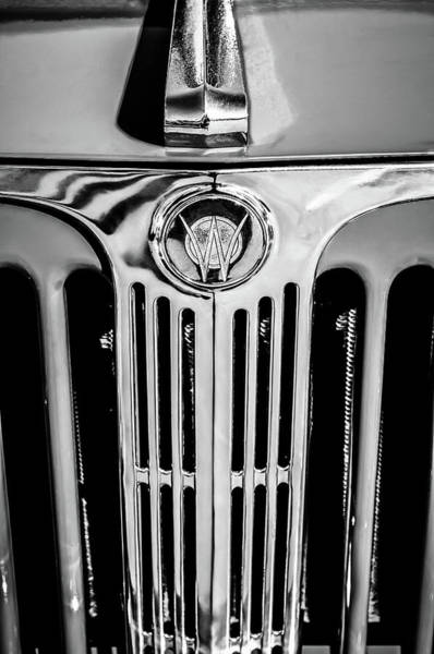 Wall Art - Photograph - 1949 Willys Jeepster Hood Ornament And Grille -0225bw by Jill Reger