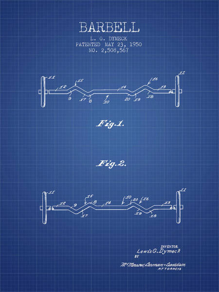 1950 Barbell Patent Spbb04_bp Art Print