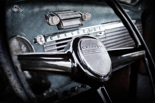 Wall Art - Photograph - 1950 Chevrolet 3100 Pickup Truck Steering Wheel -0142ac by Jill Reger