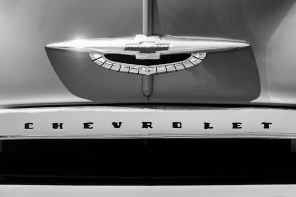 Photograph - 1950 Chevrolet Fleetline Grille Emblem -1431bw by Jill Reger