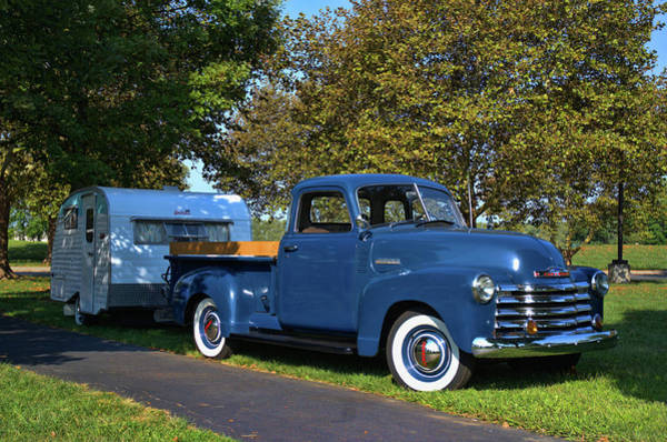 Photograph - 1950 Chevrolet Pickup Truck With Camper Trailer by Tim McCullough