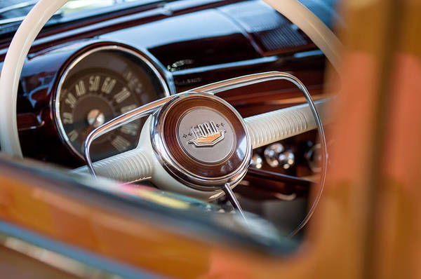 Wall Art - Photograph - 1950 Ford Woody Steering Wheel -0579c by Jill Reger