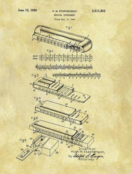 Wall Art - Drawing - 1950 Harmonica Patent by Dan Sproul