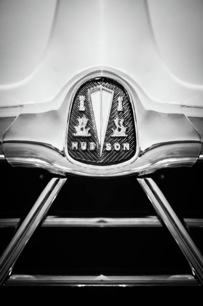 Photograph - 1950 Hudson Commodore Grille Emblem -0759bw by Jill Reger