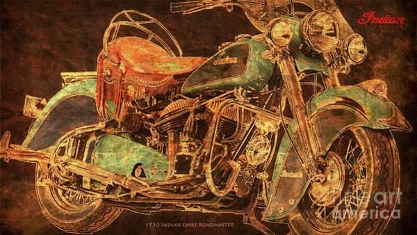 Wall Art - Digital Art - 1950 Indian Chief Roadmaster, Golden Artwork, Gift For Bikers by Drawspots Illustrations