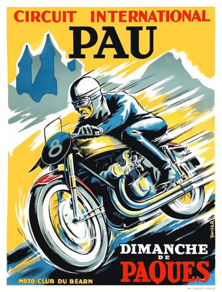 Wall Art - Digital Art - 1950 Pau Grand Prix Motorcycle Race Poster by Retro Graphics