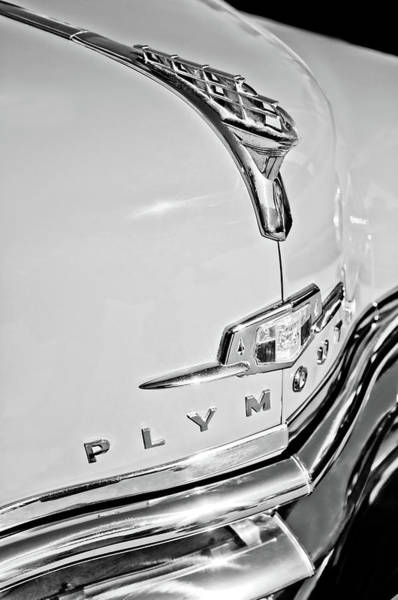 Wall Art - Photograph - 1950 Plymouth Coupe Hood Ornament - Emblem -0116bw by Jill Reger