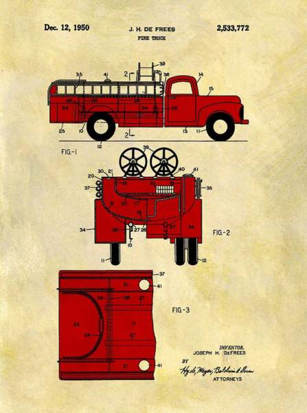 Wall Art - Drawing - 1950 Red Firetruck Patent by Dan Sproul
