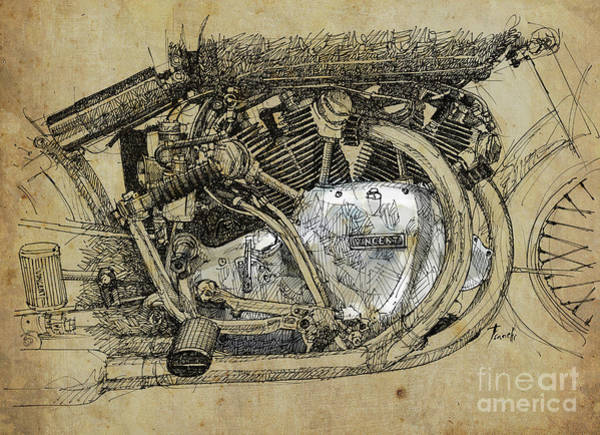 Man Cave Drawing - 1950 Vincent Rapide Series C, Original Handmade Drawing, Gift For Men by Drawspots Illustrations