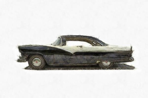 Ford Fairlane Photograph -  1950s Ford Fairlane Crown Victoria Pencil by Edward Fielding