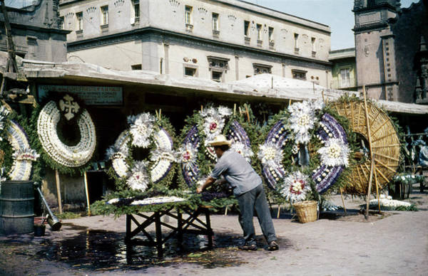 Photograph - 1950s Mexico City Funeral Wreaths by Marilyn Hunt