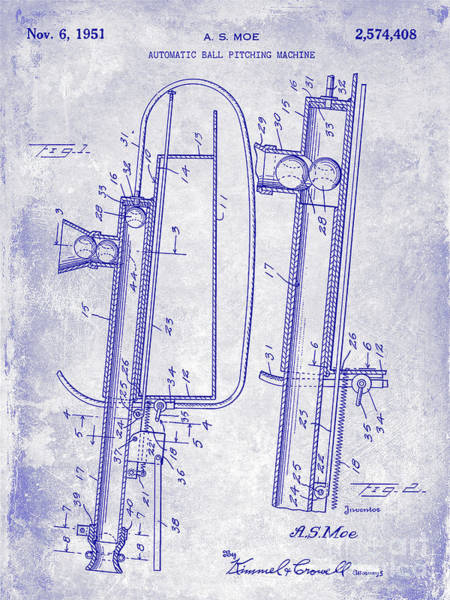 Wall Art - Photograph - 1951 Baseball Pitching Machine Patent Blueprint  by Jon Neidert