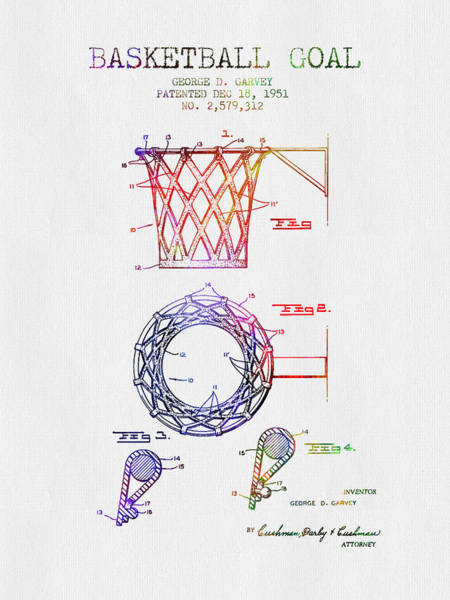 Wall Art - Digital Art - 1951 Basketball Goal Patent - Color by Aged Pixel