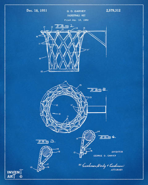 Den Digital Art - 1951 Basketball Net Patent Artwork - Blueprint by Nikki Marie Smith