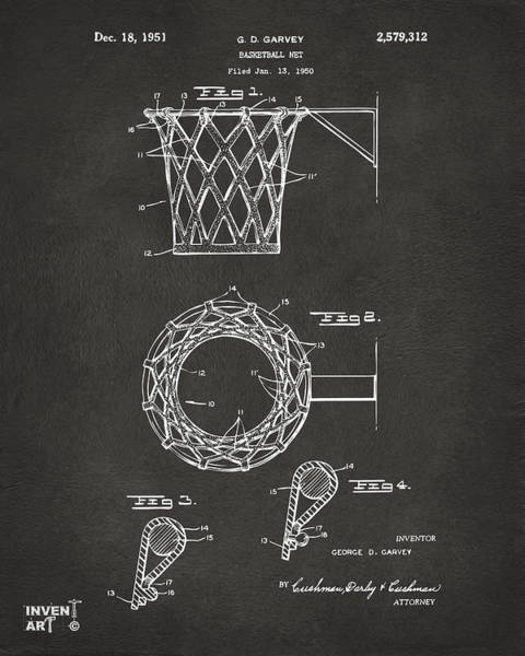 Den Digital Art - 1951 Basketball Net Patent Artwork - Gray by Nikki Marie Smith