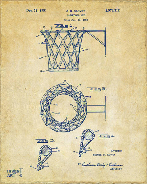 Den Digital Art - 1951 Basketball Net Patent Artwork - Vintage by Nikki Marie Smith