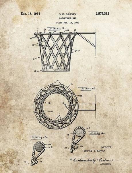 Nba Drawing - 1951 Basketball Net Patent by Dan Sproul