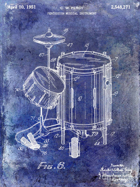 Drum Photograph - 1951 Drum Kit Patent Blue by Jon Neidert