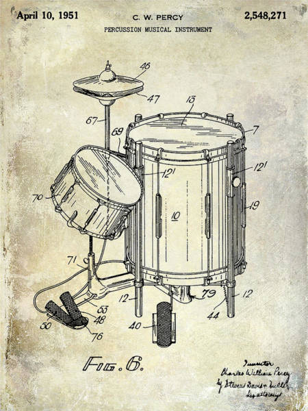 Drum Photograph - 1951 Drum Kit Patent  by Jon Neidert