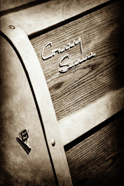 Wall Art - Photograph - 1951 Ford Country Squire Woody Wagon Side Emblem -3369s by Jill Reger