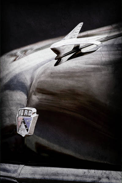 Wall Art - Photograph - 1951 Ford Custom Tudor Sedan Hood Ornament - Emblem -0312ac by Jill Reger