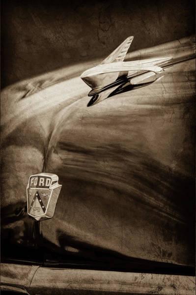 Tudor Photograph - 1951 Ford Custom Tudor Sedan Hood Ornament - Emblem -0312s by Jill Reger