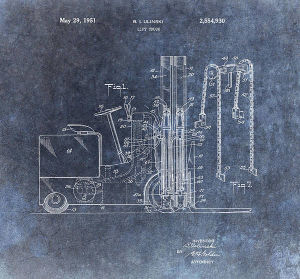Wall Art - Mixed Media - 1951 Forklift Patent by Dan Sproul