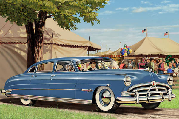 Car Show Painting - 1951 Hudson Hornet Fair Americana Antique Car Auto Nostalgic Rural Country Scene Landscape Painting by Walt Curlee