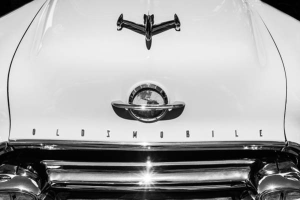 Photograph - 1951 Oldsmobile 98 Hood Ornament - Emblem -0125bw by Jill Reger