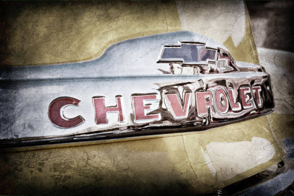 Wall Art - Photograph - 1952 Chevrolet Hood Emblem -0245ac by Jill Reger