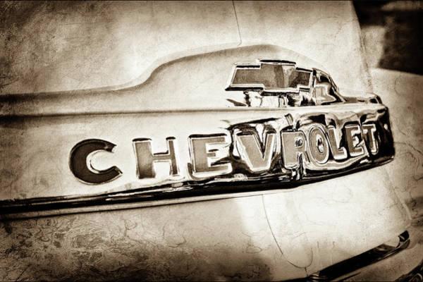 Wall Art - Photograph - 1952 Chevrolet Hood Emblem -0245s by Jill Reger