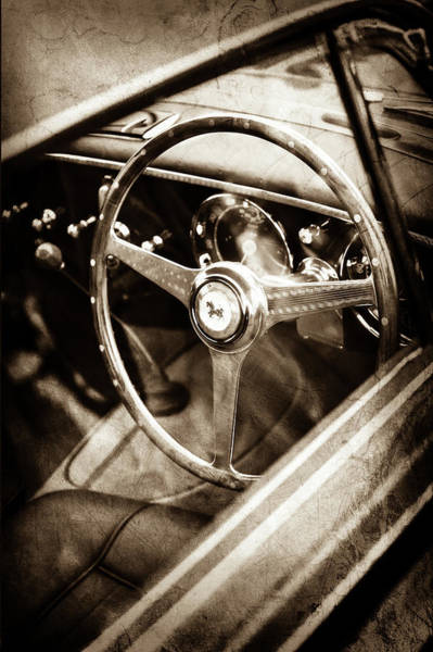 Wall Art - Photograph - 1952 Ferrari 212 Inter Vignale Coupe Steering Wheel Emblem -1598s by Jill Reger