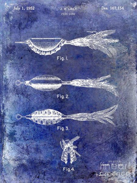 Redfish Lake Photograph - 1952 Fishing Lure Patent Blue by Jon Neidert