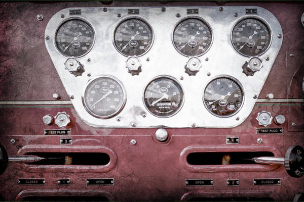 Photograph - 1952 L Model Mack Pumper Fire Truck Gauges -0018ac by Jill Reger