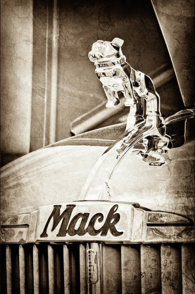 Mack Photograph - 1952 L Model Mack Pumper Fire Truck Hood Ornament -0179s by Jill Reger