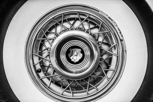 Photograph - 1952 Oldsmobile 98 Holiday Hardtop Wheel Emblem -1485bw by Jill Reger