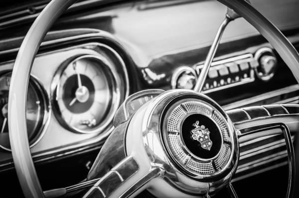 Photograph - 1952 Packard 400 Steering Wheel -0598bw by Jill Reger