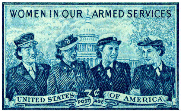 Marine Corps Painting - 1952 Women In Military Service Stamp by Historic Image