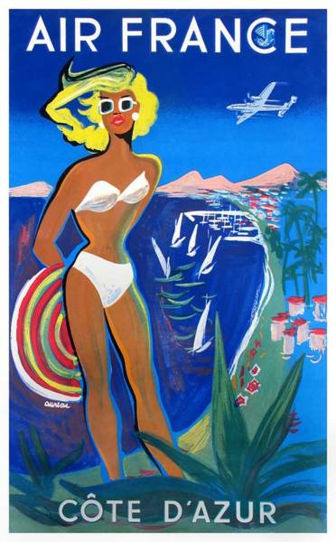 Wall Art - Digital Art - 1953 Air France French Riviera Travel Poster by Retro Graphics